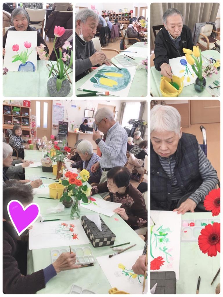水彩画のお教室で、春の花を描きましたヽ(*^ω^*)ノ